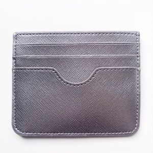 NWT Neiman Marcus Silver Leather Card Wallet